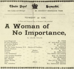 Cast list from first performance of A Woman of No Importance