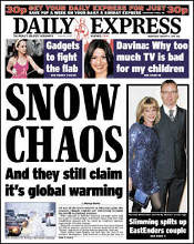 Daily Express front page, 6 Jan 2010
