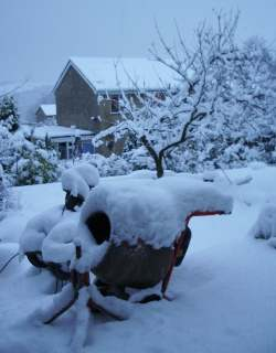 Snow-clad cement mixer, 5 January 2010