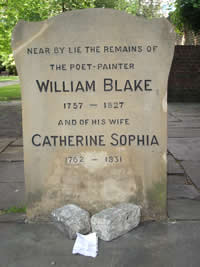 Blake's grave in Bunhill Fields Burial Ground
